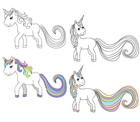 vector, isolated unicorn, character, book coloring pages