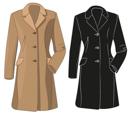 brown coat, isolated, silhouette of jacket Ilustracje wektorowe