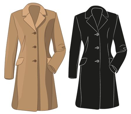 brown coat, isolated, silhouette of jacket Vector Illustration