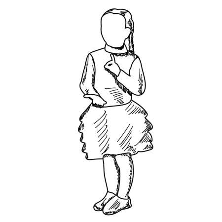 sketch, child, girl dancing