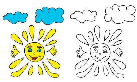 vector, sun character, book coloring pages
