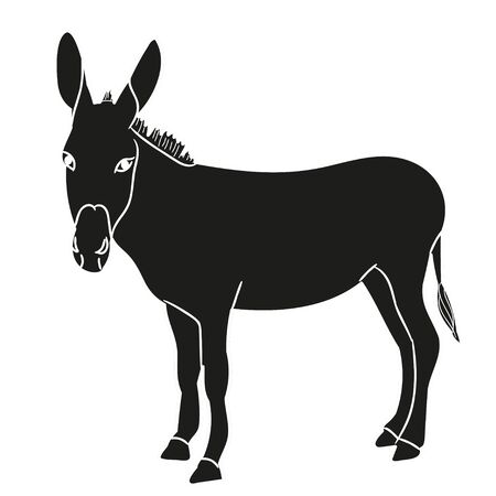 isolated silhouette of a donkey, black