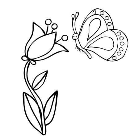 flower, for kids, book coloring Banque d'images - 149587630