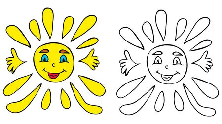 sun character, book coloring pages 向量圖像