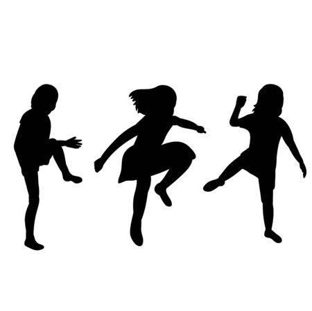 vector, isolated silhouette children little girls jumping