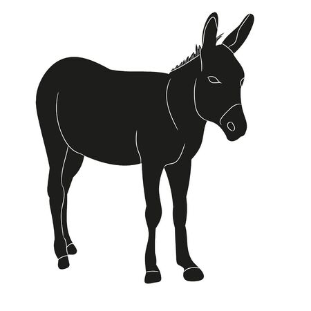 vector, isolated silhouette of a donkey standing Stock Illustratie