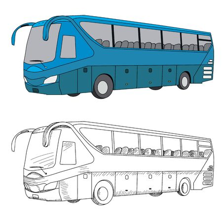 vector, isolated blue bus and sketch