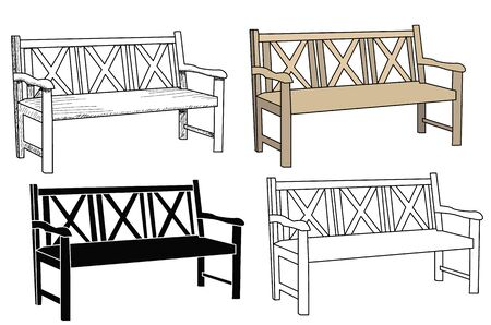 vector, isolated sketch of a bench Illustration