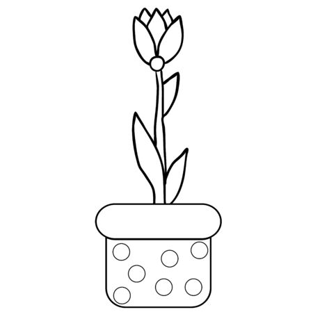vector, isolated flower in a pot, coloring book Banque d'images - 149594371
