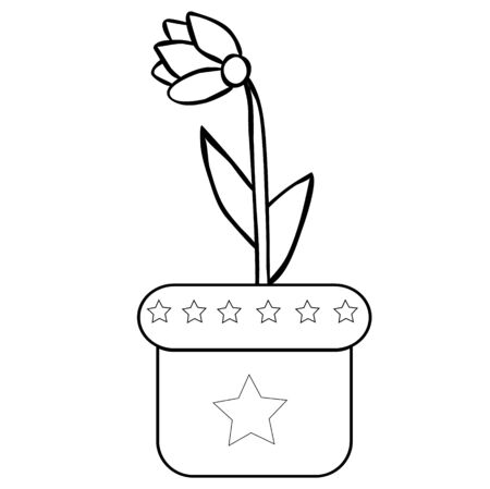 flower in a pot, simple, coloring book Illustration