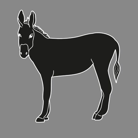silhouette of a donkey on a gray background