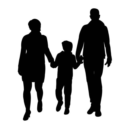 silhouette of a family goes on a white background