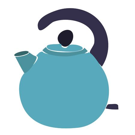 vector, on a white background, a kettle with a handle for a stove with a whistle Stock Illustratie