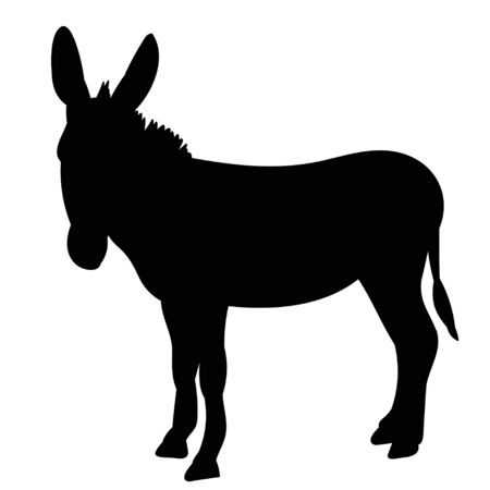 vector, isolated black silhouette of a donkey, it is worth Vettoriali