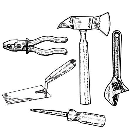 construction tool set of sketches Vettoriali