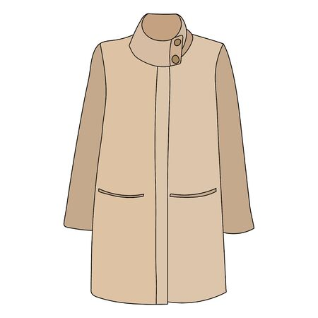 vector, on a white background, outerwear coat, raincoat, brown Vectores