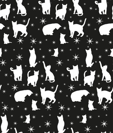 seamless background with silhouette of cats Векторная Иллюстрация