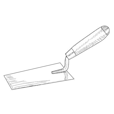 vector, on a white background, construction trowel tool