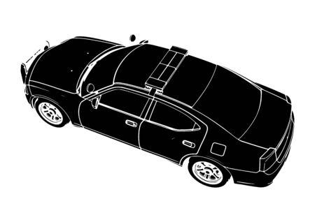 silhouette police car vector