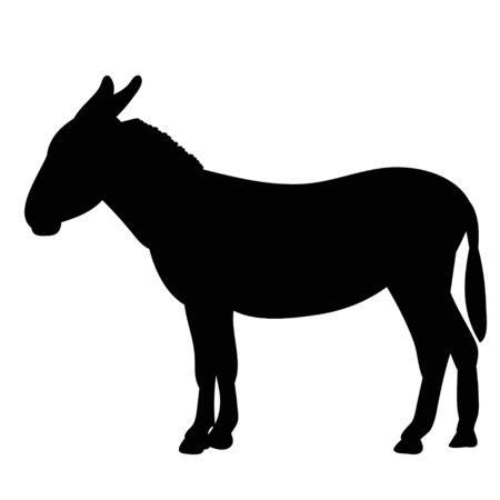 black silhouette of a donkey