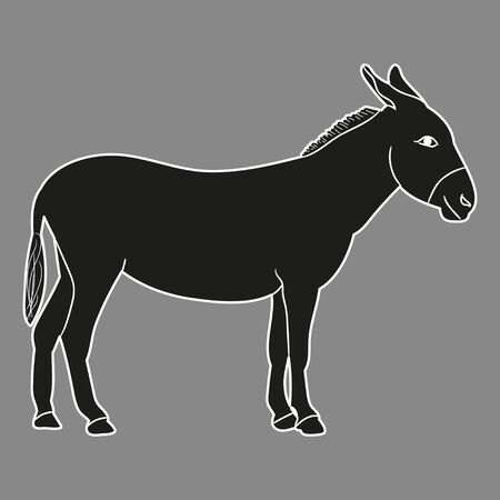 isolated silhouette of a donkey, on a gray background Vettoriali
