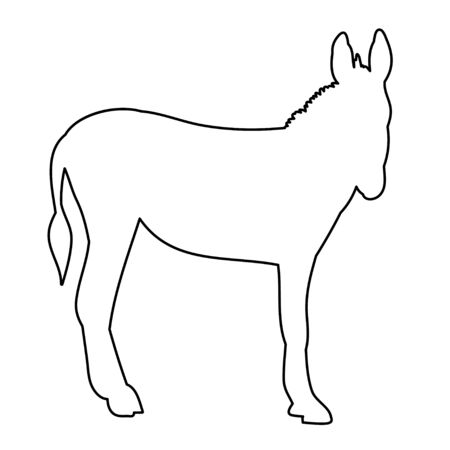 vector, isolated contour of donkeys, sketch, it is worth