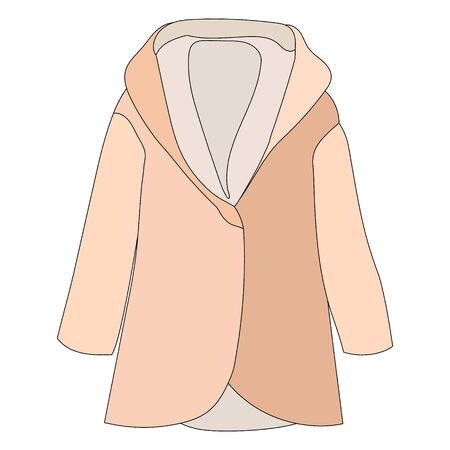 white background, fashionable outerwear coat, raincoat, brown Illustration