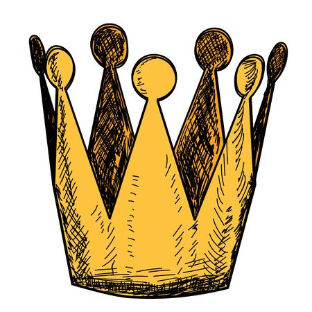 vector, on a white background, golden crown, icon, lines Vectores