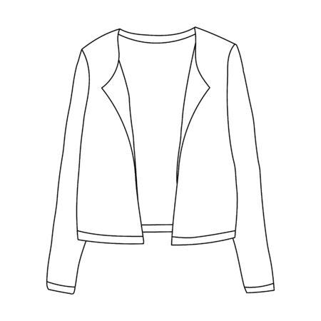 white background, fashionable outerwear jacket sketch, contour Illusztráció