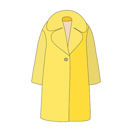 vector, on a white background, fashionable outerwear coat, cape, yellow Vectores