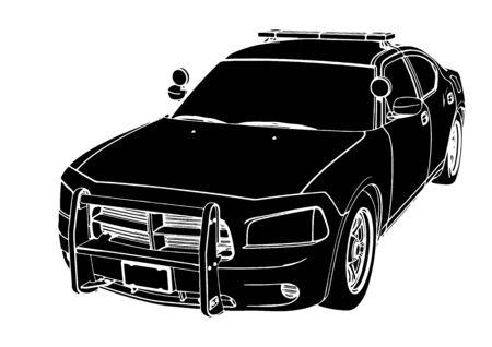 vecteur de voiture de police silhouette
