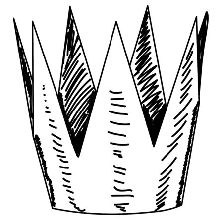 crown, sketch with lines, icon