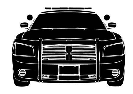 silhouette police car vector Vektorové ilustrace