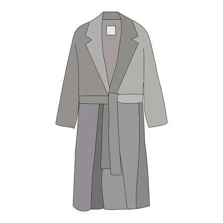 vector, on a white background, fashionable outerwear coat, cloak, gray
