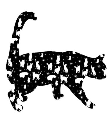 vector, isolated silhouette of a cat, is going