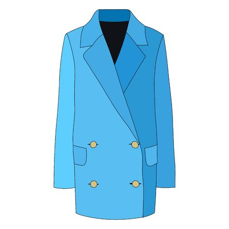 vector, on a white background, outerwear coat, raincoat, blue