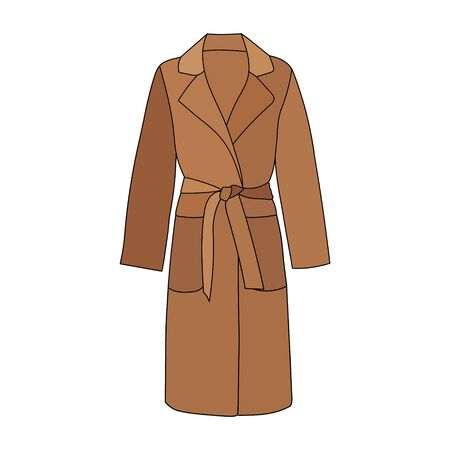 vector, on a white background, fashionable outerwear coat, raincoat, brown