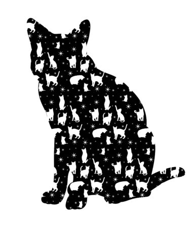 vector, isolated silhouette cat sitting