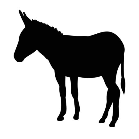 silhouette of a donkey, is going Vettoriali
