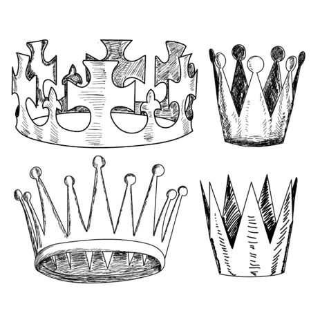 vector, on a white background, crown, sketch with lines, set