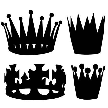 Vektor, auf weißem Hintergrund, Satz, Krone-Silhouette-Sammlung