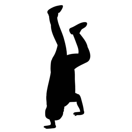 black silhouette of a guy dancing, on a white background