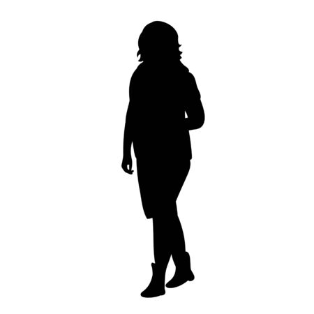 silhouette of a girl is walking, on a white background, one Vectores