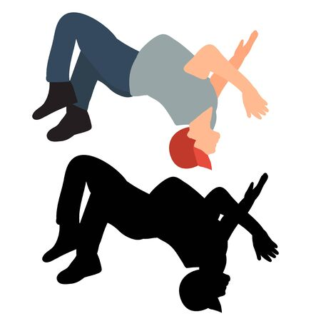 silhouette of a guy jumping Ilustração
