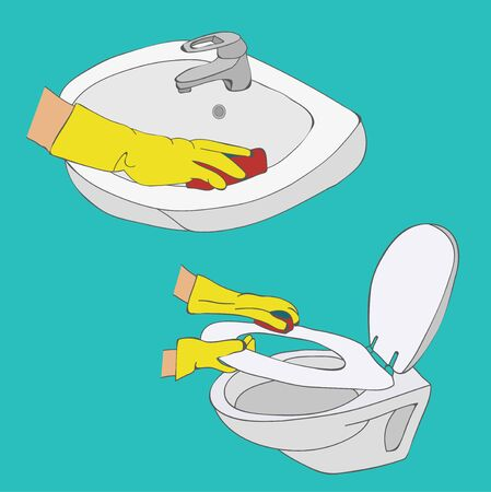 vector, cleaning, toilet and wash basin wash Stock Illustratie