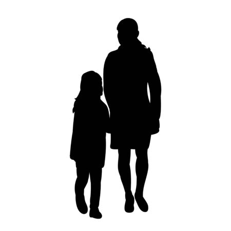silhouette people with children are walking