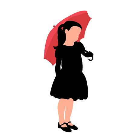 silhouette of a child with a red umbrella