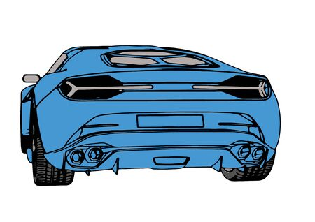 blue sports car vector
