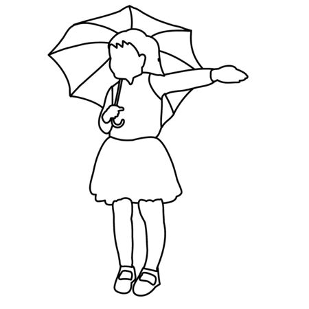 sketch, simple lines of a child with an umbrella