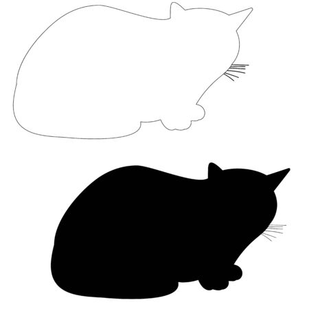 isolated silhouette cat, outline